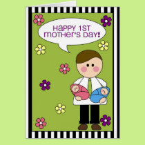 happy 1st mother's day (twins) card
