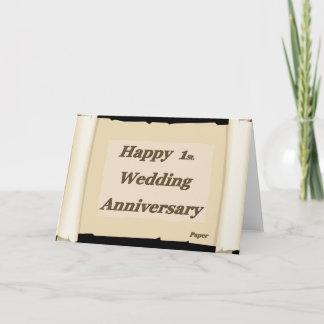 Happy 1St. Wedding Anniversary Paper Card