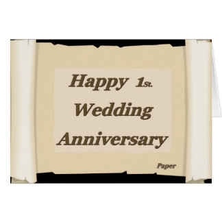 Happy 1St. Wedding Anniversary Paper Card