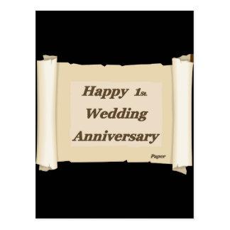 Happy 1St. Wedding Anniversary Paper Postcard