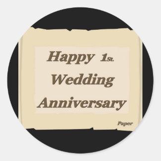 Happy 1St. Wedding Anniversary Paper Classic Round Sticker