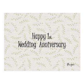 Happy 1st. Wedding Anniversary Postcard