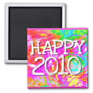 Happy 2010 2 inch square magnet