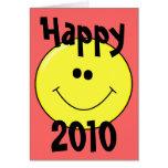 Happy 2010 - Smiling Smiley on Card