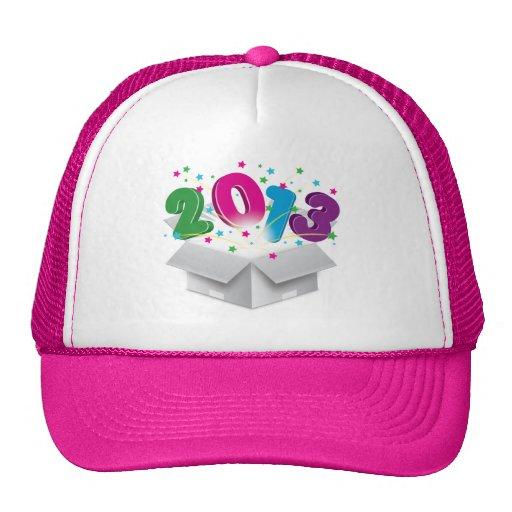 Happy 2013 bursting open box mesh hats