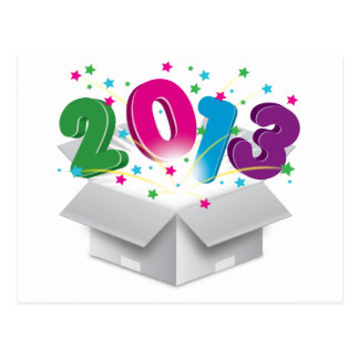 Happy 2013 bursting open box postcard