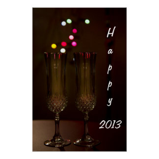 Happy 2013 two glasses Poster