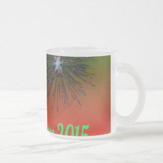 Happy 2015 green coffee mugs