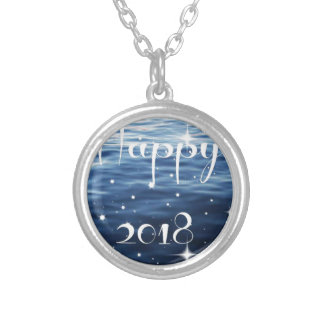 Happy 2018 silver plated necklace
