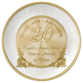 Happy 20th Anniversary Gifts Personalized Plate at Zazzle