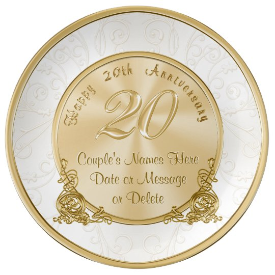 Happy 20th Anniversary Gifts Personalized Plate Zazzle Com
