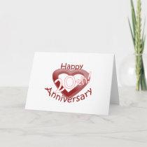 """""""Happy 20th Anniversary"""" Heart design Card"""