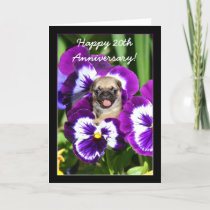 Happy 20th Anniversary Pug in pansies card