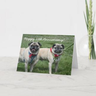 Happy 20th Anniversary Pugs greeting card