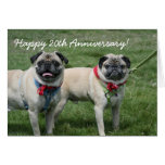 Happy 20th Anniversary Pugs greeting card