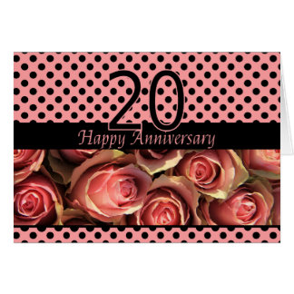 Happy 20th Anniversary roses Card