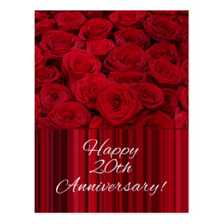 Happy 20th Anniversary roses Postcard