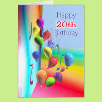 Happy 20th Birthday Balloon Wall Card
