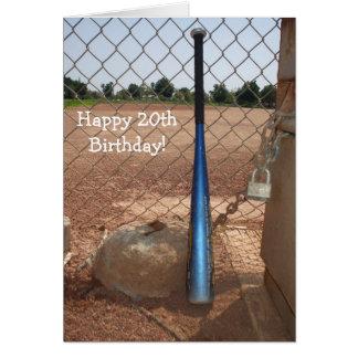 Happy 20th Birthday Baseball Bat greeting card