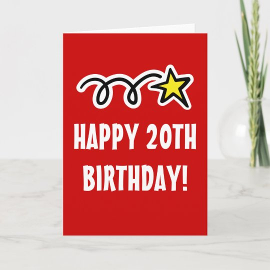 Happy 20th Birthday Card For Men And Women Zazzle