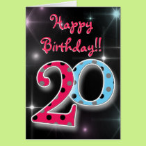 Happy 20th birthday fun & bright polka dot card