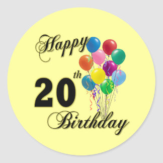 Happy 20th Birthday Gifts and Birthday Apparel Classic Round Sticker