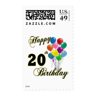 Happy 20th Birthday Gifts and Birthday Apparel Postage