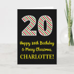 [ Thumbnail: Happy 20th Birthday & Merry Christmas, Custom Name Card ]