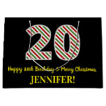 [ Thumbnail: Happy 20th Birthday & Merry Christmas, Custom Name Gift Bag ]