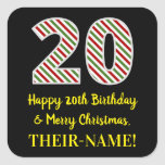 [ Thumbnail: Happy 20th Birthday & Merry Christmas, Custom Name Sticker ]