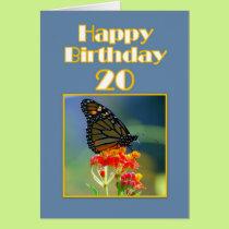 Happy 20th Birthday Monarch Butterfly Card