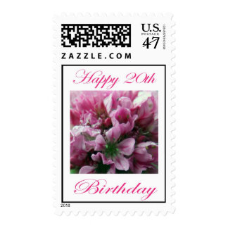 Happy 20th Birthday Pink and Green Flower Postage