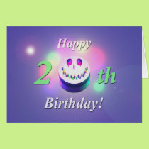 Happy 20th Birthday Smiley Cake Card