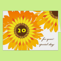 Happy 20th Birthday, Sunflowers Design Card