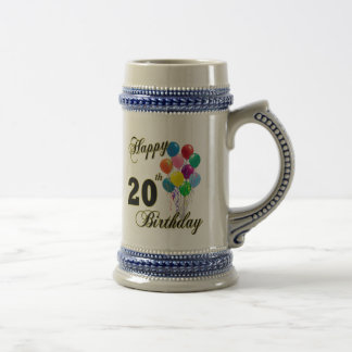 Happy 20th Birthday with Balloons Beer Stein