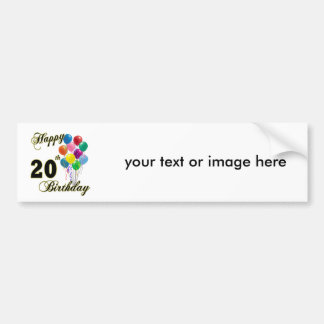 Happy 20th Birthday with Balloons Car Bumper Sticker
