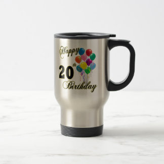 Happy 20th Birthday with Balloons Coffee Mugs