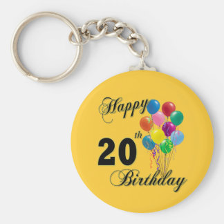 Happy 20th Birthday with Balloons Keychain