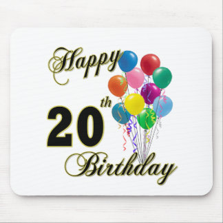 Happy 20th Birthday with Balloons Mouse Pad