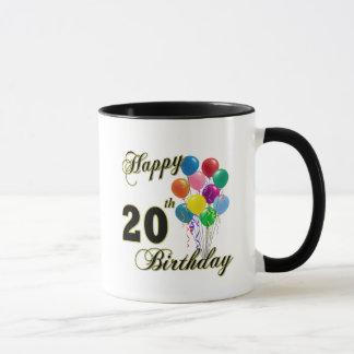 Happy 20th Birthday with Balloons Mug
