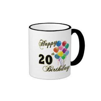 Happy 20th Birthday with Balloons Ringer Mug