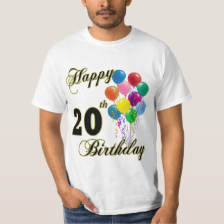 Happy 20th Birthday with Balloons T-Shirt