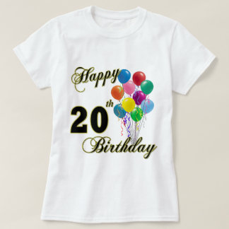Happy 20th Birthday with Balloons Tshirt