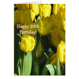 Happy 20th Birthday Yellow tulip greeting card