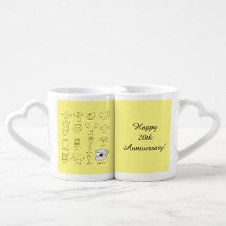 Happy 20th Wedding Anniversary Gift for Couple Coffee Mug Set