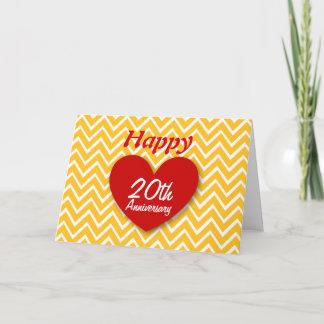 Happy 20th Wedding Anniversary Gold Chevrons B20 Card