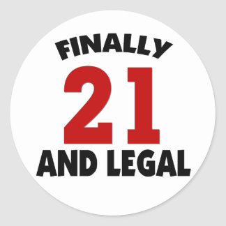 Happy 21 Birthday Classic Round Sticker