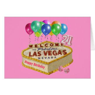 Happy 21 Birthday Las Vegas CAKE Card. Card