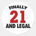 Happy 21 Birthday Round Sticker