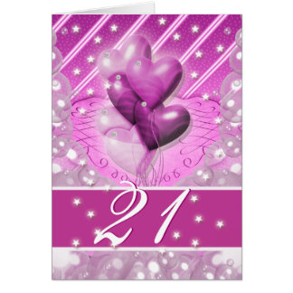 Happy 21st birthday balloons bright card